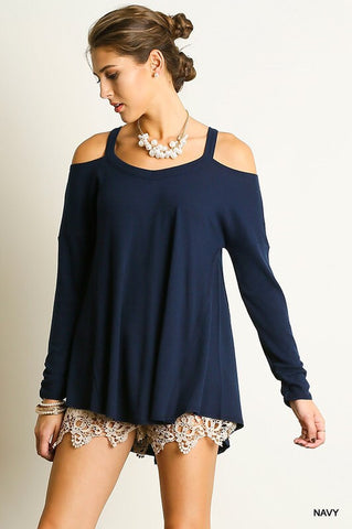 Evening Out Cold Shoulder Top - Wine - Blue Chic Boutique  - 2