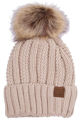 C.C. Knit Beanie with Faux Fur Pom Pom - Blue Chic Boutique  - 5
