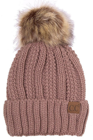 C.C. Knit Beanie with Faux Fur Pom Pom - Blue Chic Boutique  - 7