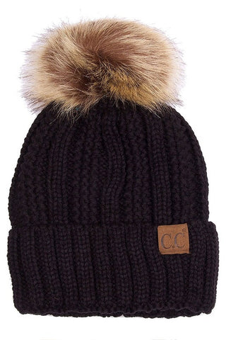 C.C. Knit Beanie with Faux Fur Pom Pom - Blue Chic Boutique  - 8