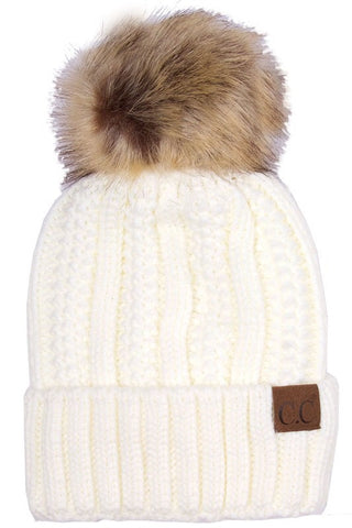 C.C. Knit Beanie with Faux Fur Pom Pom - Blue Chic Boutique  - 9
