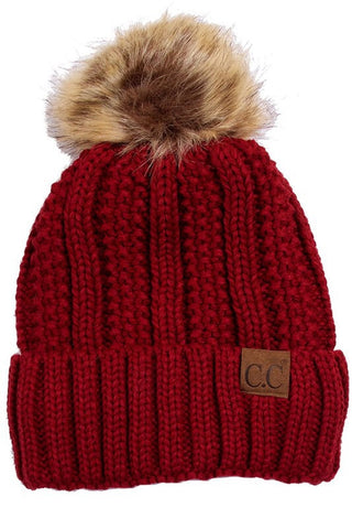 C.C. Knit Beanie with Faux Fur Pom Pom - Blue Chic Boutique  - 10