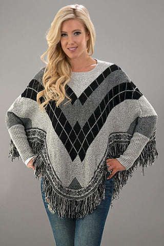 Black and Grey Poncho - Blue Chic Boutique  - 1