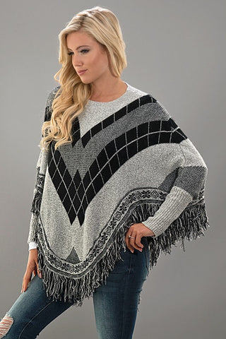 Black and Grey Poncho - Blue Chic Boutique  - 2