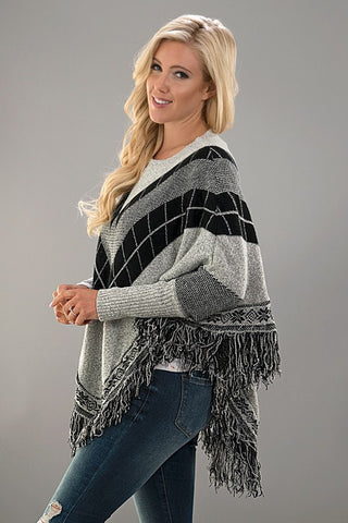 Black and Grey Poncho - Blue Chic Boutique  - 3