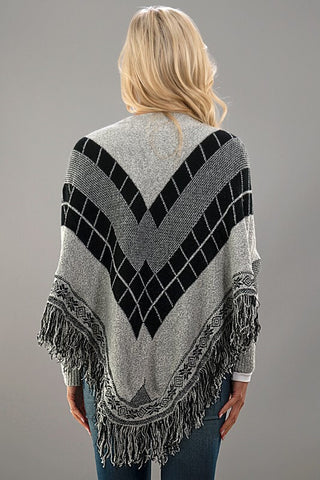 Black and Grey Poncho - Blue Chic Boutique  - 4