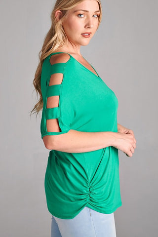 Entertaining  Evening Cut Out Top - Green - Plus