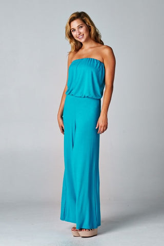 Solid Knit Strapless Jumpsuit - Jade