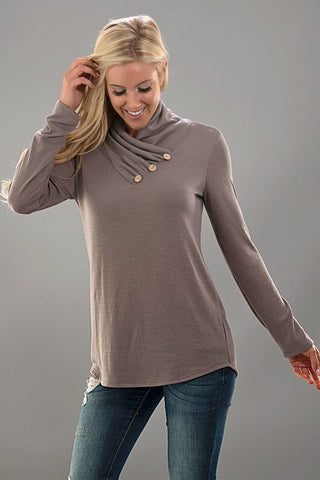 Casual Cowl Neck Top with Buttons - Olive - Blue Chic Boutique  - 4