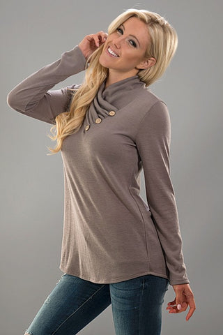 Casual Cowl Neck Top with Buttons - Olive - Blue Chic Boutique  - 5