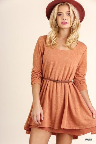 Layered Fall Dress - Orange - Blue Chic Boutique  - 2