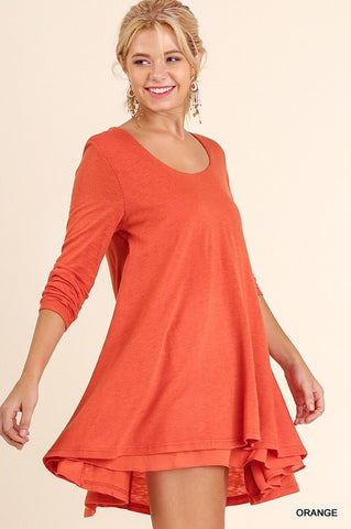 Layered Fall Dress - Orange - Blue Chic Boutique  - 1