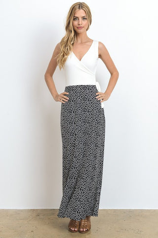 Polka Dot Sleeveless Maxi Dress - Ivory