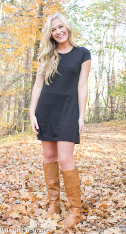 The Perfect Tee Shirt Dress - Black - Blue Chic Boutique  - 2