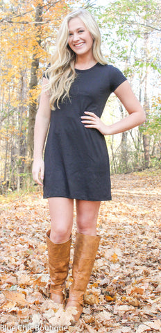 The Perfect Tee Shirt Dress - Black - Blue Chic Boutique  - 1