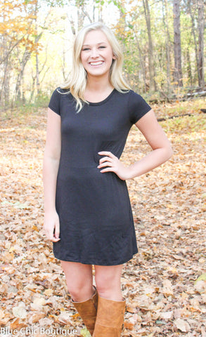 The Perfect Tee Shirt Dress - Black - Blue Chic Boutique  - 4