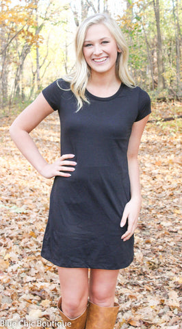 The Perfect Tee Shirt Dress - Black - Blue Chic Boutique  - 6