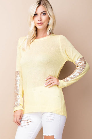 Sparkle and Shine Sequined Sleeved Sweater - Yellow - Blue Chic Boutique  - 2