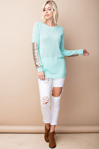 Sparkle and Shine Sequined Sleeved Sweater - Mint - Blue Chic Boutique  - 1