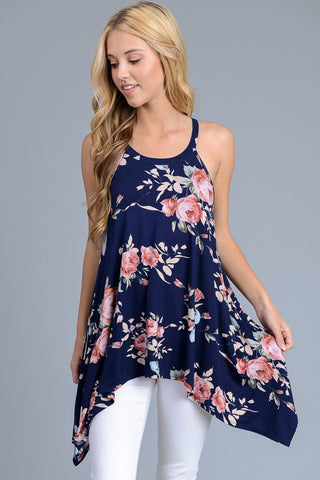 Summer Bliss Racerback Tank Top - Navy