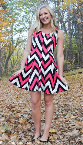 Chevron Sleeveless Dress - Pink - Blue Chic Boutique  - 5