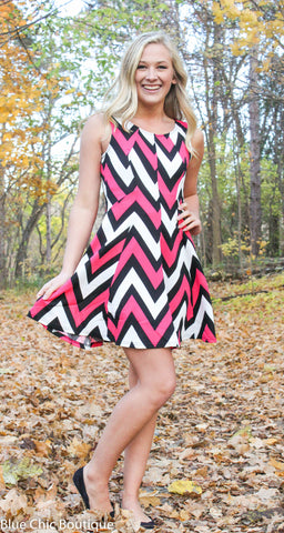 Chevron Sleeveless Dress - Pink - Blue Chic Boutique  - 3