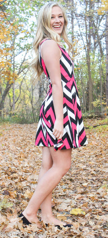 Chevron Sleeveless Dress - Pink - Blue Chic Boutique  - 4