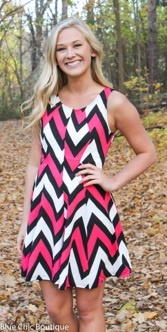 Chevron Sleeveless Dress - Pink - Blue Chic Boutique  - 1