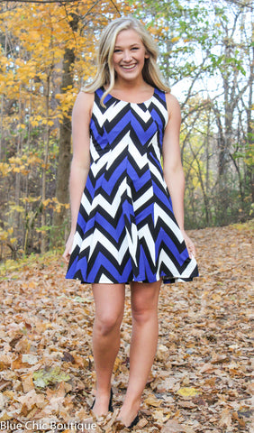 Chevron Sleeveless Dress - Blue - Blue Chic Boutique  - 5