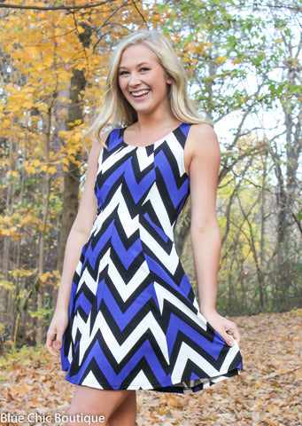 Chevron Sleeveless Dress - Blue - Blue Chic Boutique  - 2