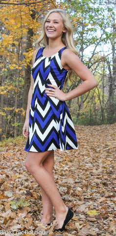 Chevron Sleeveless Dress - Blue - Blue Chic Boutique  - 3