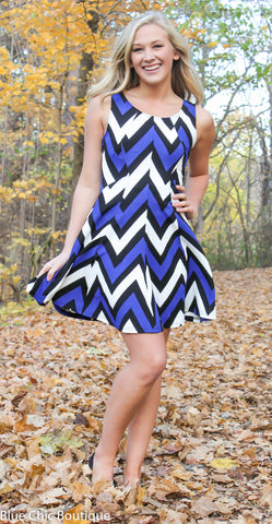 Chevron Sleeveless Dress - Blue - Blue Chic Boutique  - 6