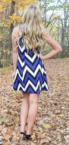 Chevron Sleeveless Dress - Blue - Blue Chic Boutique  - 7