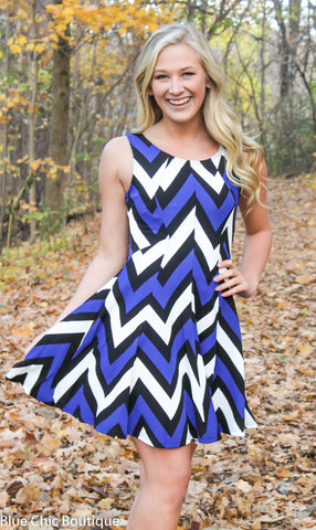 Chevron Sleeveless Dress - Blue - Blue Chic Boutique  - 1