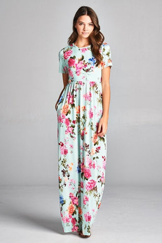 Short Sleeve Floral Maxi Dress - Mint