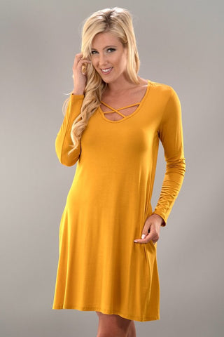 Criss Cross Long Sleeve Swing Dress - Mustard - Blue Chic Boutique  - 1