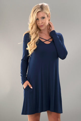 Criss Cross Long Sleeve Swing Dress - Navy - Blue Chic Boutique  - 1