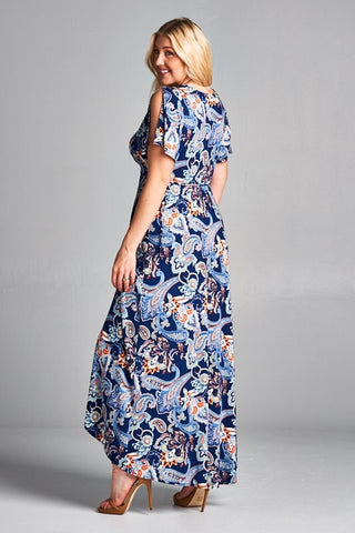 Pretty Paisley Maxi Dress - Navy - Plus