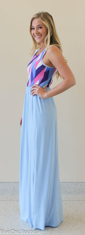 Geometric Print Maxi Dress - Light Blue - Blue Chic Boutique  - 2