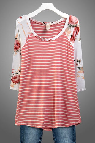 Striped Floral Baseball Tee - Pink and White