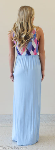 Geometric Print Maxi Dress - Light Blue - Blue Chic Boutique  - 3