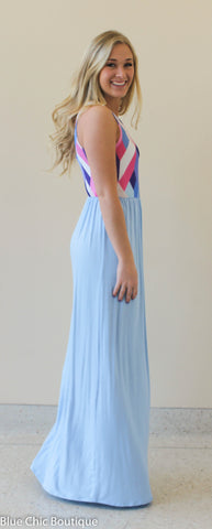 Geometric Print Maxi Dress - Light Blue - Blue Chic Boutique  - 4