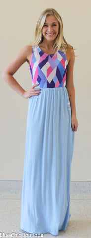 Geometric Print Maxi Dress - Light Blue - Blue Chic Boutique  - 1