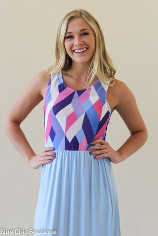 Geometric Print Maxi Dress - Light Blue - Blue Chic Boutique  - 5