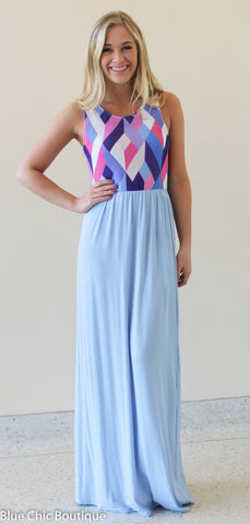 Geometric Print Maxi Dress - Light Blue - Blue Chic Boutique  - 6