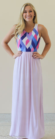 Geometric Print Maxi Dress - Lavender - Blue Chic Boutique  - 3