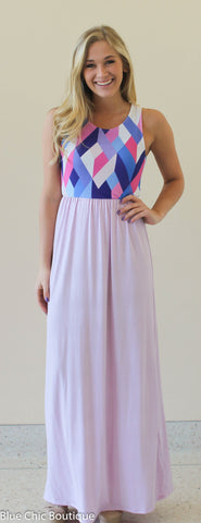 Geometric Print Maxi Dress - Lavender - Blue Chic Boutique  - 2