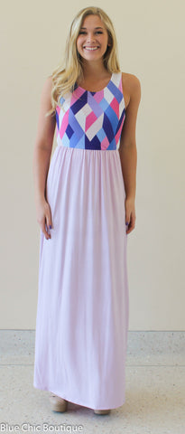 Geometric Print Maxi Dress - Lavender - Blue Chic Boutique  - 4