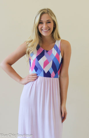 Geometric Print Maxi Dress - Lavender - Blue Chic Boutique  - 5