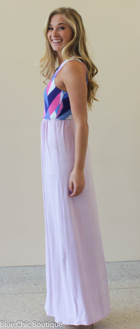 Geometric Print Maxi Dress - Lavender - Blue Chic Boutique  - 6
